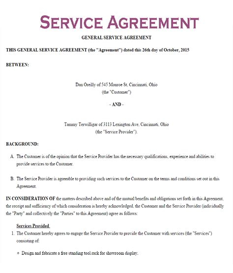 service contract service contract template business sales agreement