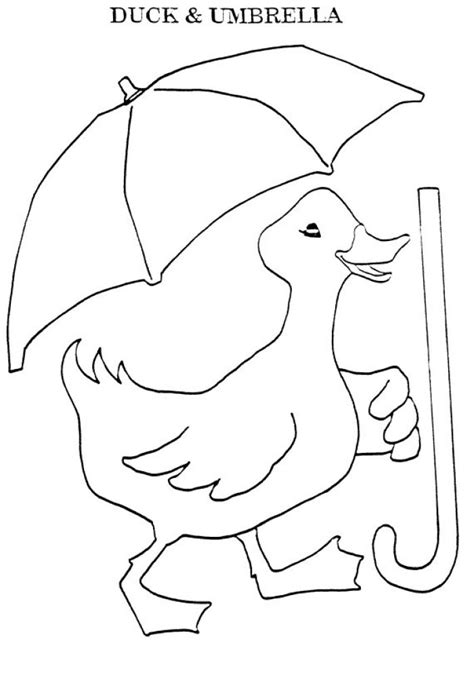 coloring page duck with umbrella duck with umbrella clipart 28