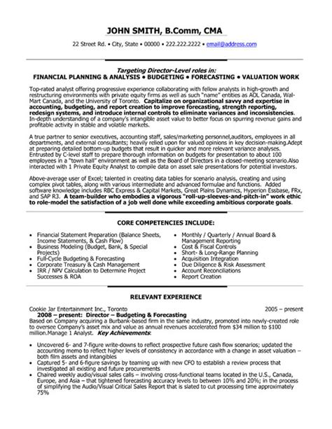 director of finance resume template premium resume sles exle