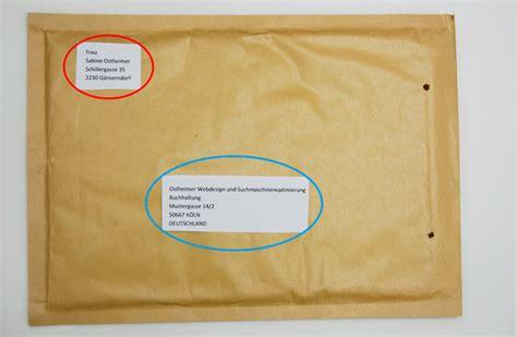 Paketaufkleber Drucken Ohne Porto by Kuvert Beschriftung B 252 Rozubeh 246 R