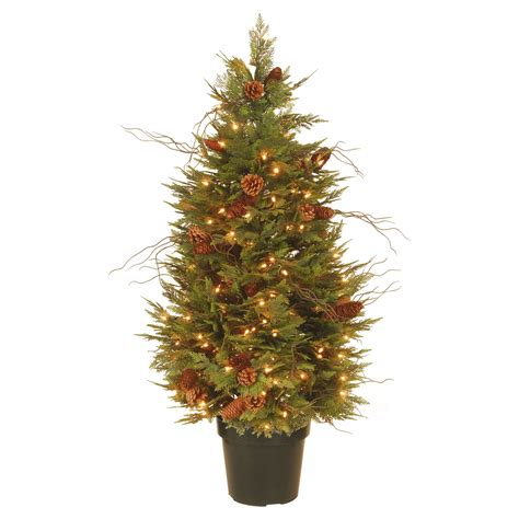 real potted christmas trees for sale asda 4 5 ft feel real potted fern pre lit entrance tree trees at hayneedle