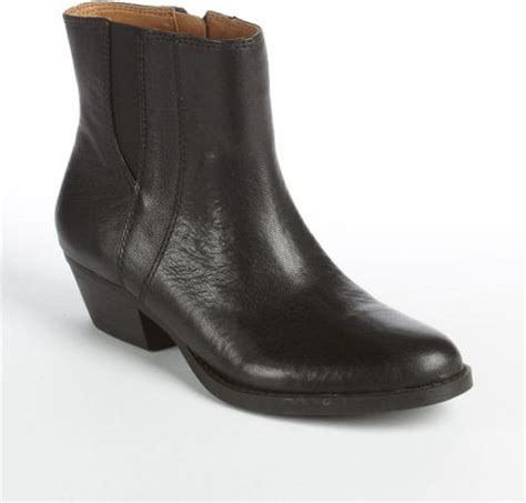 nine west sloane leather boots in black black leather lyst