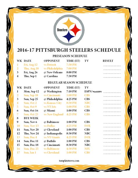 2017 nfl schedule release steelers printable schedule 2016 calendar template 2016