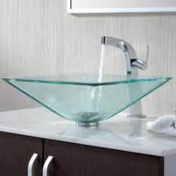 sinks bathroom kraus c gvs 901 19mm 15100ch clear aquamarine glass vessel