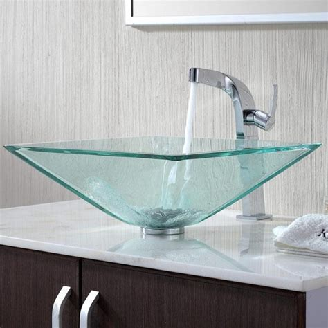 Glass Bathroom Sink with Kraus C Gvs 901 19mm 15100ch Clear Aquamarine Glass Vessel Sink Typhon Faucet Modern