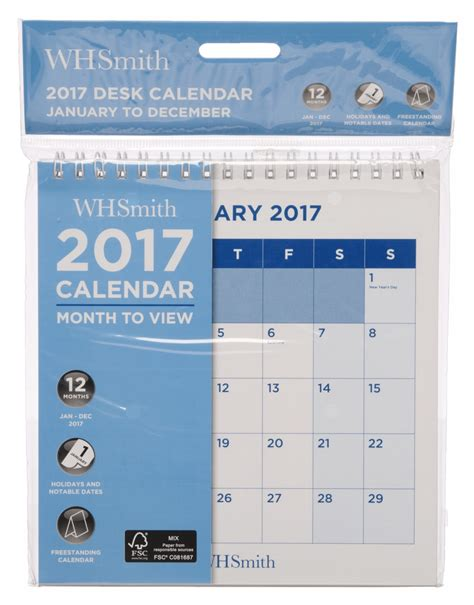 Desk Calendar Month To View by Whsmith Commercial Square Desk Calendar 2017 Month To View