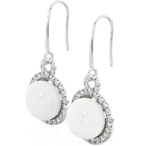 925 Sterling Silver Drop Earrings 925 sterling silver earrings white freshwater pearl drop