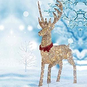 christmas outdoor lighted deer family holiday light decorati 64 quot 1 6m led reindeer outdoor indoor decoration 240 white led lights co uk