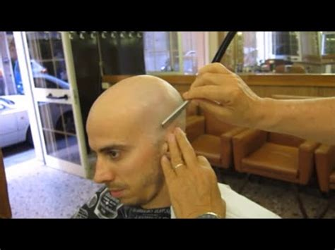full head shaving video complete headshave hair complete head shave in a silent barbershop asmr tingles