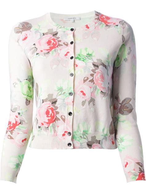 Flower Black Sweater 1 carven floral print cardigan in pink lyst
