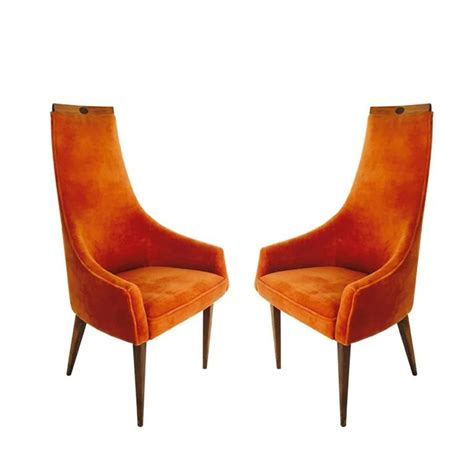 orange armchairs pair of adrian pearsall tall back armchairs in orange