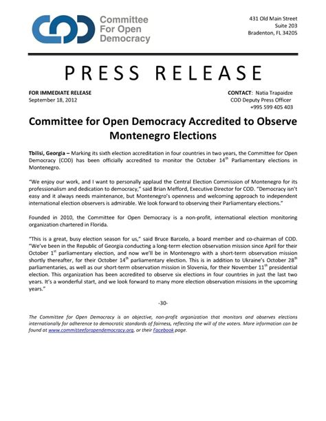 committee for open democracy accredited to observe montenegro elections