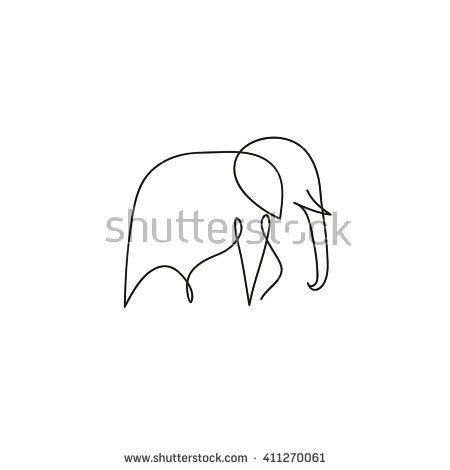 one line elephant design silhouette hand drawn minimalism
