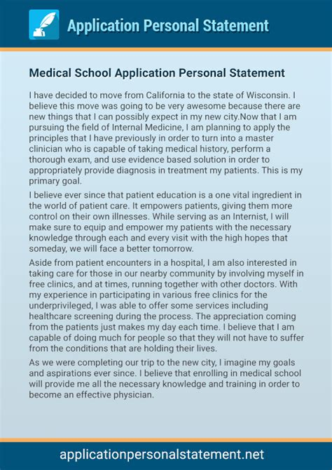our professional application personal statement examples