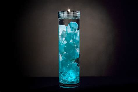 Turquoise Floral Centerpiece With Led Lights And Turquoise Lights