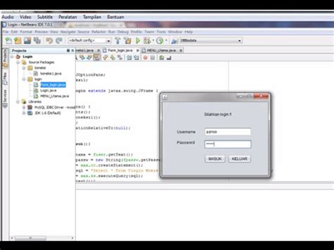 membuat form login netbeans mysql cara membuat form login java netbeans dan mysql versi on