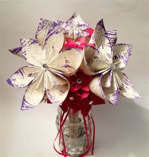 Origami Flower Wedding Bouquet - paper flower wedding bouquet 10 inch 18 flowers