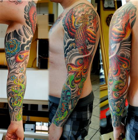 colored tattoos for guys colored sleeve for