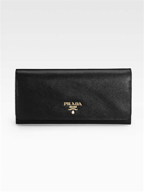 Walet 2 In 2 lyst prada saffiano continental wallet in black for