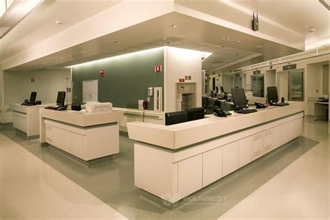 white hospital station reception counter