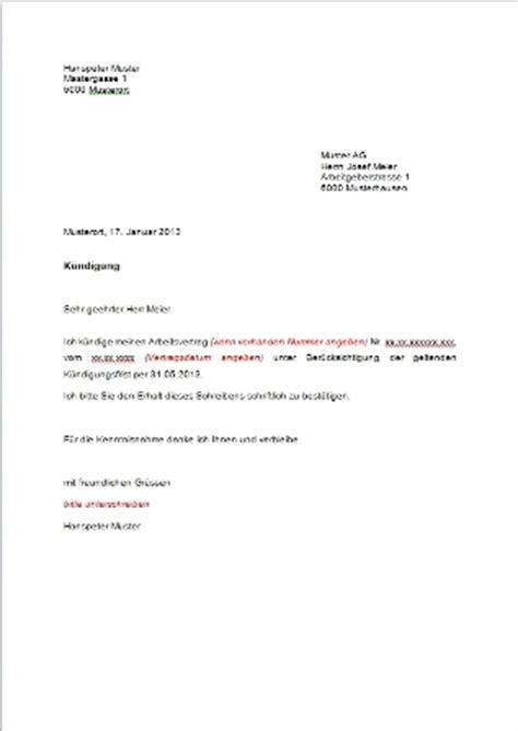 kuendigungsschreiben vorlage muster und vorlagen kostenlos