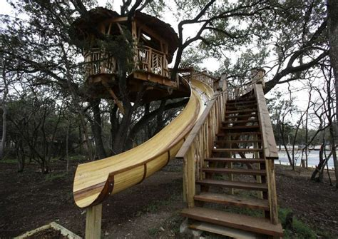 tree house slide treehouse designs reach new heights san antonio express news