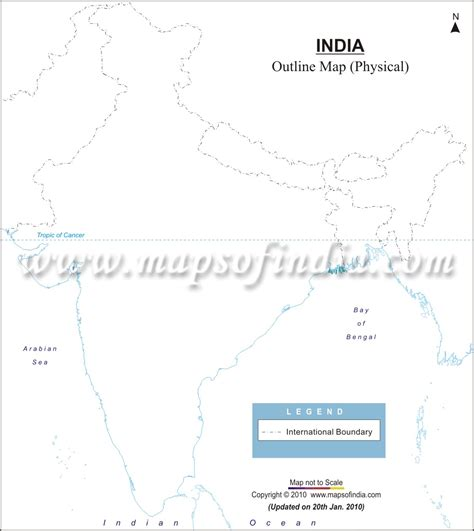 India Physical Map Outline In A4 Size by India Physical Map In A4 Size