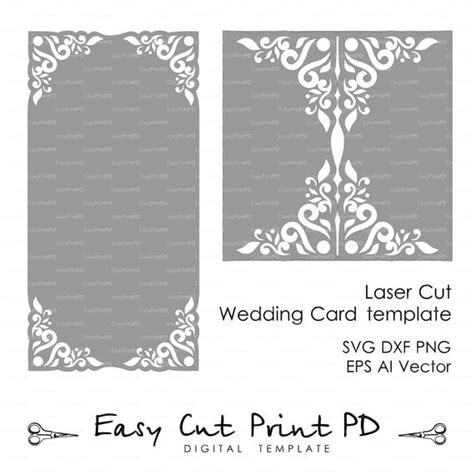 template border card cricut wedding invitation card template lace folds studio v3 svg