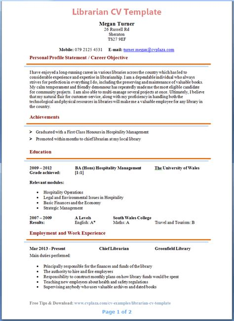 Resume Exle For Library Librarian Cv Template