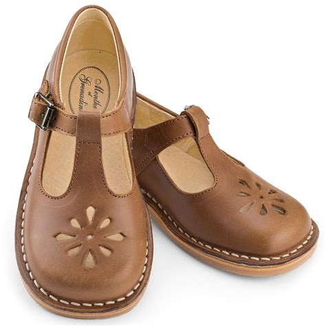 Antique Brown T Bar childrens t bar shoes in brown leather with buckle from menthe et grenadine timeless and