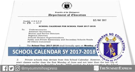 theme for education week 2014 philippines deped releases school calendar for sy 2017 2018 the