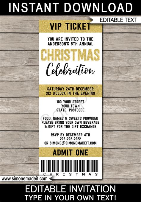 christmas party ticket template printable ticket invitations ticket invites