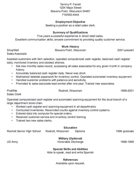 sle clerk resume resume for retail sales clerk