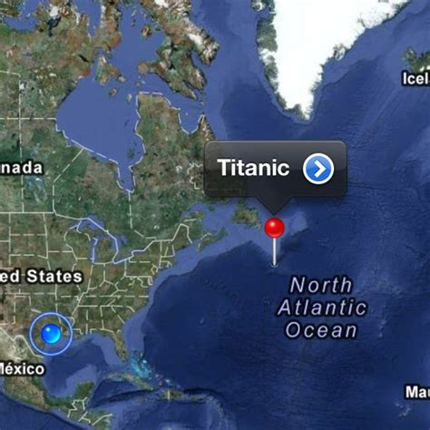 shipwreck location titanic just left of that pin is my home