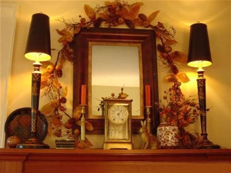 colorful fall decorating  vintage style  fireplace