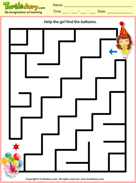 maze worksheet and balloon maze worksheet turtle diary