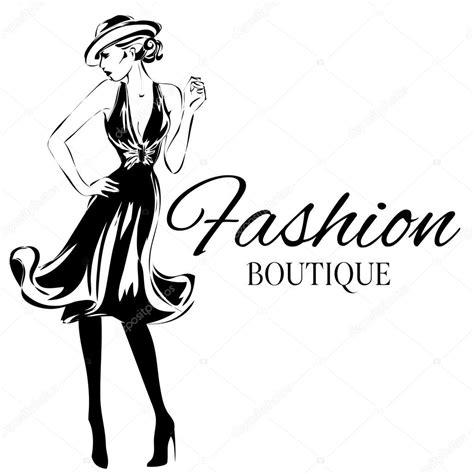 fashion logo design illustrator logo de boutique de mode avec le vecteur de silhouette