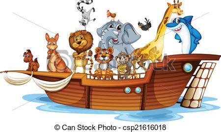 animal cartoon on boat animals on boat illustration of many animals on a boat