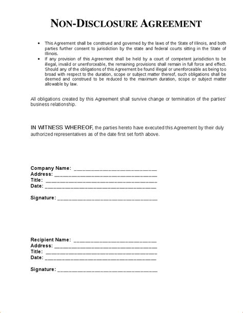 5 Non Disclosure Agreement Template Freereport Template Document Report Template Non Disclosure Statement Template