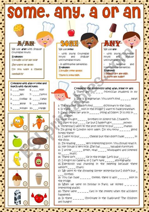 some any a an esl worksheet by esther1976