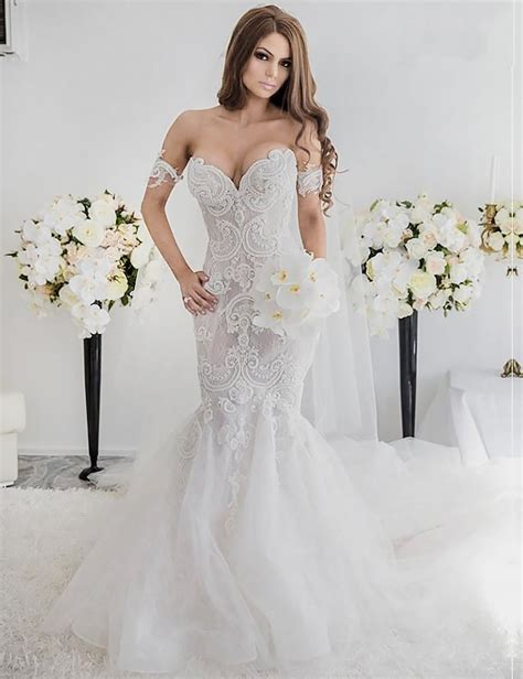 Shoulder Lace Wedding Dress charming mermaid style the shoulder sweep lace