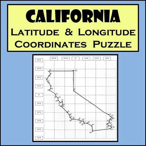 california map latitude longitude california state latitude longitude coordinates puzzle