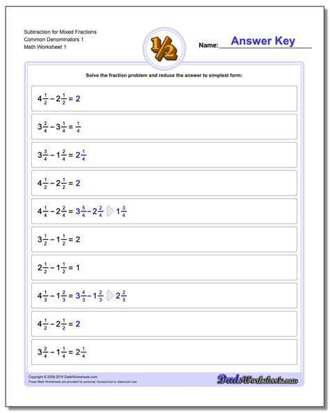 subtracting fractions with regrouping free worksheets 3