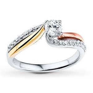 tri color engagement rings jared engagement ring 3 4 ct tw cut 14k