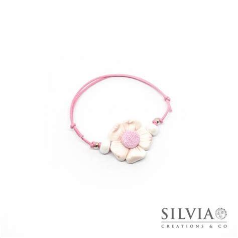 bracciale con fiore bracciale fiore bianco e rosa handmade in fimo