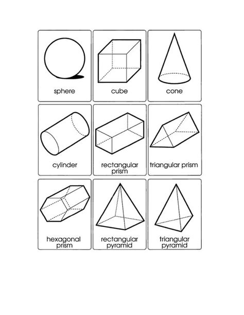 three dimensional shapes templates nets of 3d shapes 5th grade geometry worksheets surface