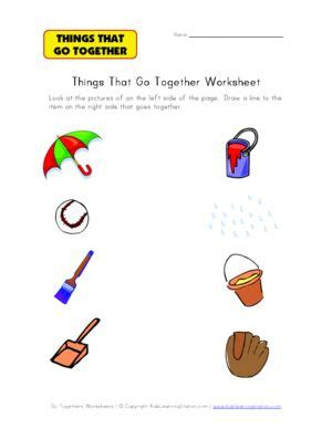 go togethers matching worksheet things that go together