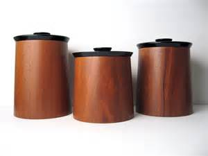 Enamel Kitchen Canisters danish modern walnut wood canister container by