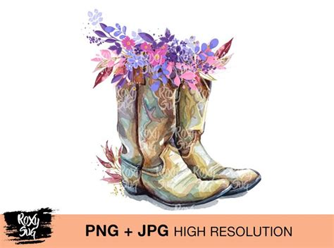 country cowgirl boots boho flower clipart png jpg instant  waterslide sublimation