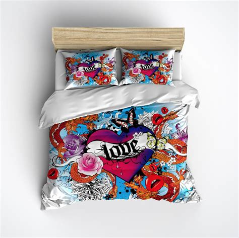 tattoo love by twin set love heart tattoo duvet bedding sets ink and rags
